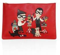 Dolce & Gabbana Flat Studded Leather Pouch - RED - STYLE