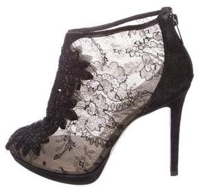 Rene Caovilla Lace Embellished Booties