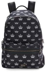 Dolce & Gabbana Crown Print Leather Backpack