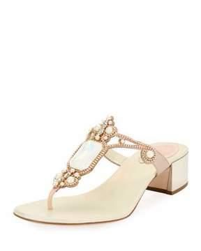 Rene Caovilla Opal-Set Embellished Thong Slide Sandal, White