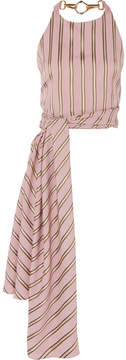 Esteban Cortazar Striped Satin-twill Wrap Top - Blush