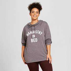 Fifth Sun Women's Plus Size Nama-Stay in Bed Graphic Cowl Sweatshirt Juniors') Gray