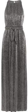 Halston Metallic Plissé-lurex Gown - Silver