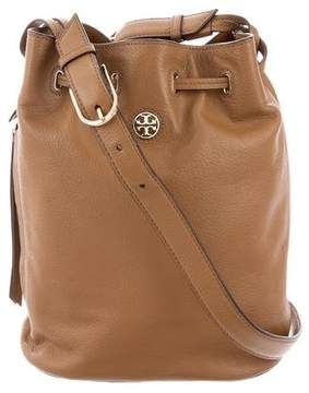 Tory Burch Grained Leather Bucket Bag - BROWN - STYLE