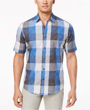 Alfani Men's Textured Plaid Shirt, Created for Macy's