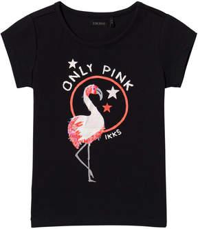 Ikks Navy Sequin Flamingo Print Tee