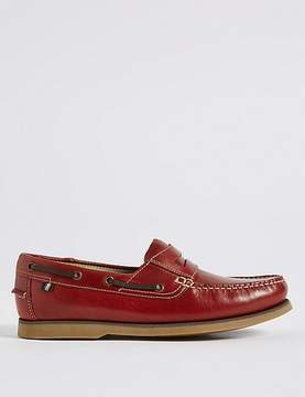 Marks and Spencer Big & Tall Leather Boat Shoes with FreshfeetTM