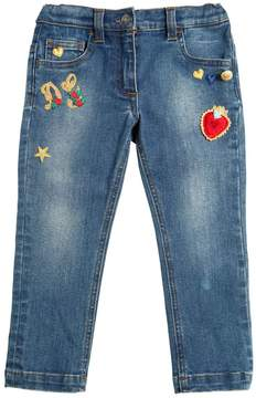 Dolce & Gabbana Embroidered Patches Stretch Denim Jeans