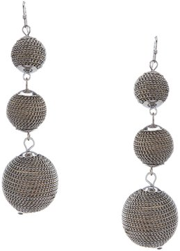 Anna & Ava Hematite Chain-Wrapped Ball Statement Drop Earrings