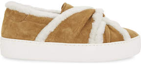 Maje Suede trainers with shearling bow