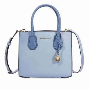 Michael Kors Mercer Medium Pebbled Leather Crossbody Bag- Pale Blue - ONE COLOR - STYLE