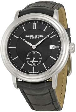 Raymond Weil Maestro Black Dial Black Leather Men's Watch