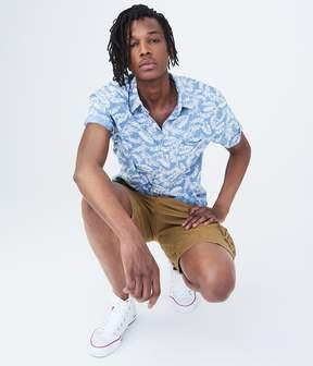 Aeropostale Tropical Chambray Woven Shirt