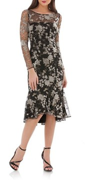Carmen Marc Valvo Women's Sequin Mesh Midi Dress