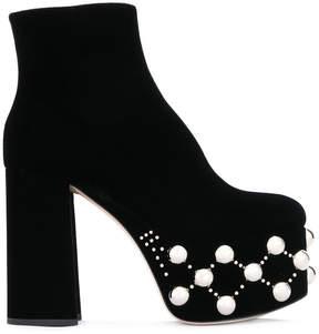 Miu Miu stud embellished platform boots