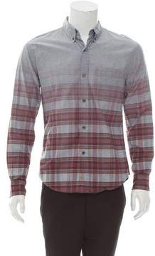 Band Of Outsiders Plaid-Accented Chambray Shirt