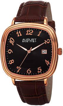 August Steiner Mens Brown Strap Watch-As-8155rgbr