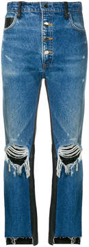 Amiri leather panelled ripped cropped jeans