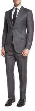Armani Collezioni Windowpane Check Wool Two-Piece Suit, Gray/White