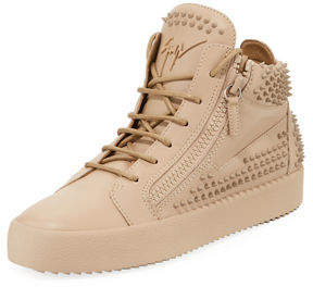 Giuseppe Zanotti Men's Studded Leather High-Top Sneakers