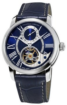Frederique Constant 42mm Heart Beat Manufacture Watch w/Alligator Strap, Navy Blue/Blue