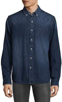 Joe's Jeans Men's Denim Print Cotton Button-Down Shirt