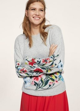 Violeta BY MANGO Floral embroidery sweater