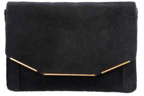 Lanvin Leather-Trimmed Ponyhair Flap Clutch