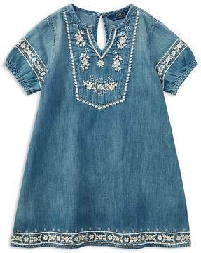 Polo Ralph Lauren Girls' Embroidered Denim Dress - Big Kid