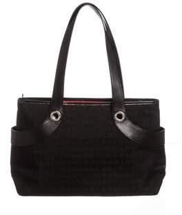 Bvlgari Black Monogram Fabric Leather Tote Bag.