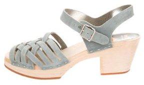 Swedish Hasbeens Suede Platform Sandals
