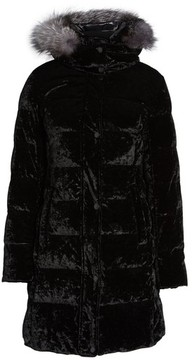 Andrew Marc Women's Velvet Down Jacket With Genuine Fox Fur