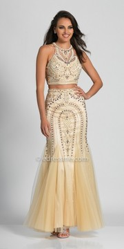 Dave and Johnny Scroll Beaded Two Piece Mermaid with Godet Evening Dress