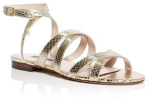 Sarah Jessica Parker Excursion Metallic Snake-Embossed Strappy Sandals