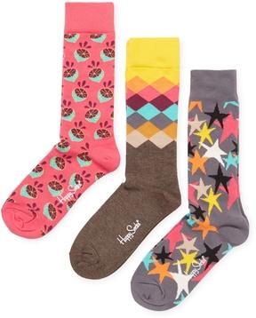 Happy Socks Men's Lemon, Diamond & Starry Socks (3 PK)