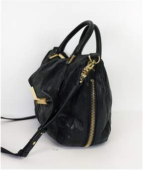 Botkier Black Leather Satchel with Zippers