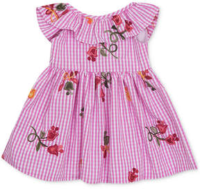 Rare Editions Floral Embroidery Gingham Dress, Baby Girls