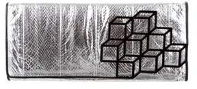 Pierre Hardy Cube-Appliquéd Metallic Clutch