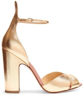 Francesco Russo Block-heel snakeskin-effect leather sandals