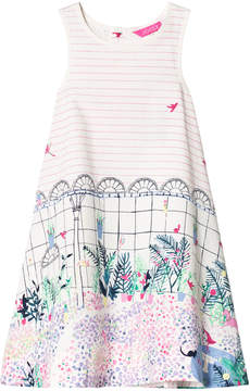 Joules Pink Stripe and Garden Print Dress