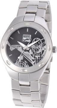 Marvel Spiderman Mens Black & Silver-Tone Watch
