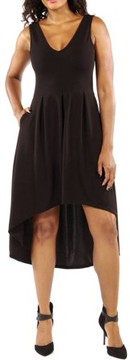 24/7 Comfort Apparel Women's Enchanting Black Princess High Low Dress