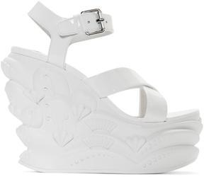 Miu Miu White Wave Wedge Sandals