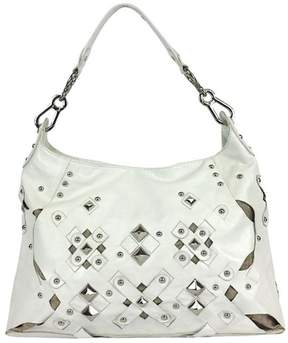 Rafe Ivory Leather Studded Hobo Bag
