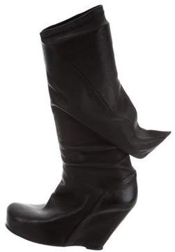 Rick Owens Leather Wedge Boots