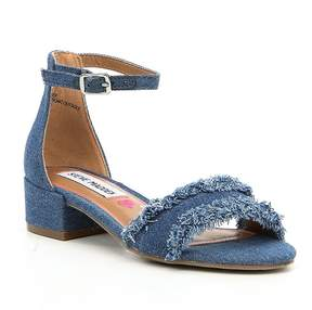 Steve Madden Girls' J-Irene Denim Frayed Ankle Strap Block Heel Dress Sandals