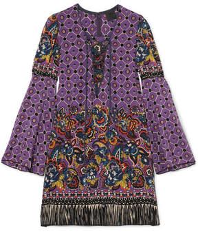 Anna Sui Printed Silk Crepe De Chine Mini Dress - Purple