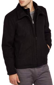 Blend of America BLACKOUT Big Men's Wool Zip Front Jacket with Layered Collar