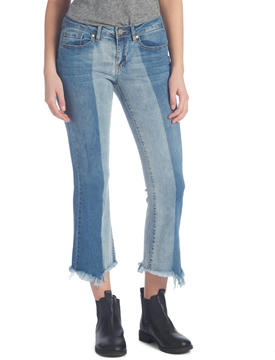 Dollhouse Snowy Blue Color Block Flare-Hem Crop Jeans