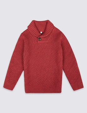 Marks and Spencer Cotton Rich Long Sleeve Jumper (3 Months - 6 Years)